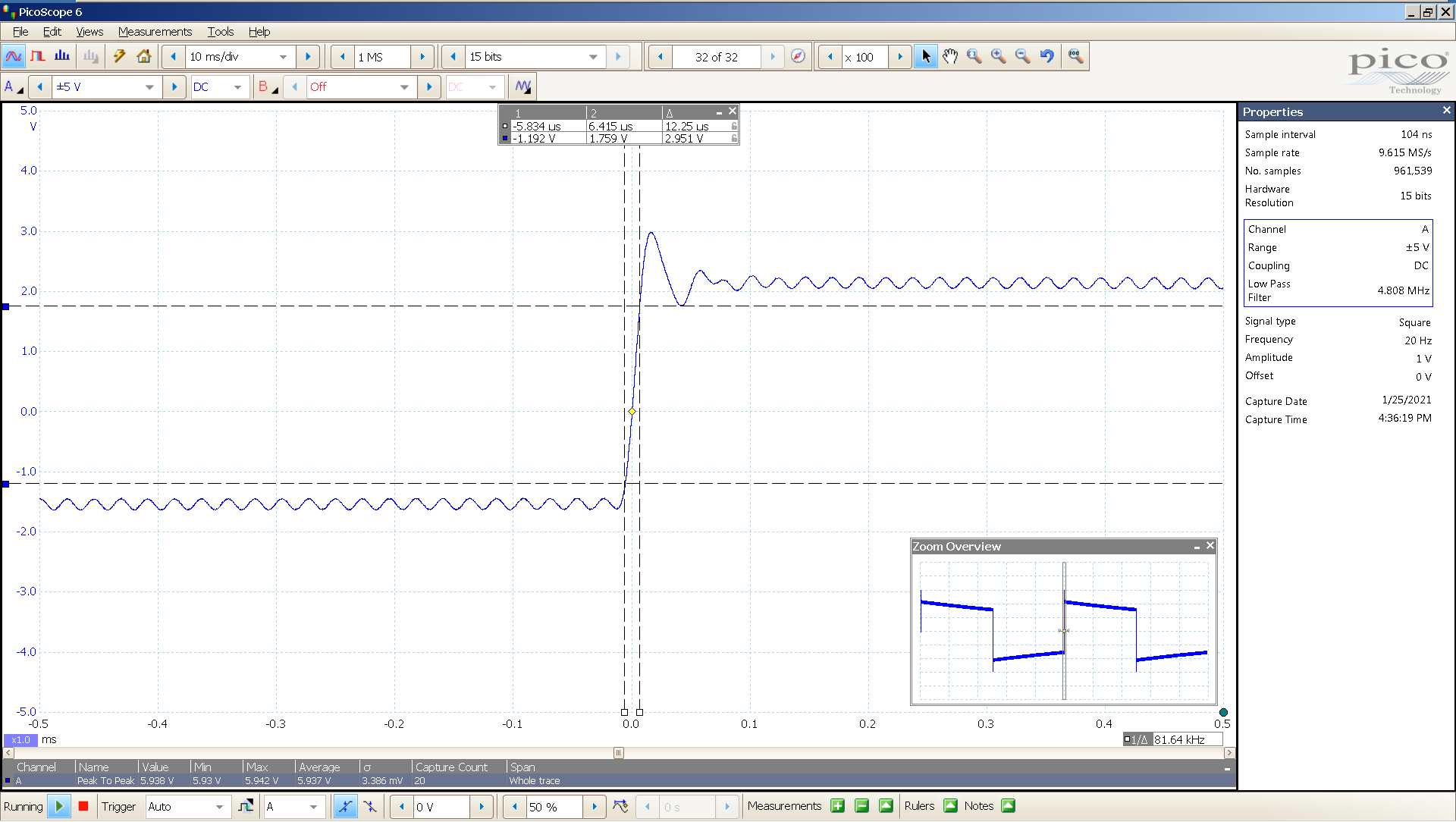04 20210125 dac2541 20 Hz square 3682mVpp 100uS div 5MHz filter AES SE Slow BW calc.png