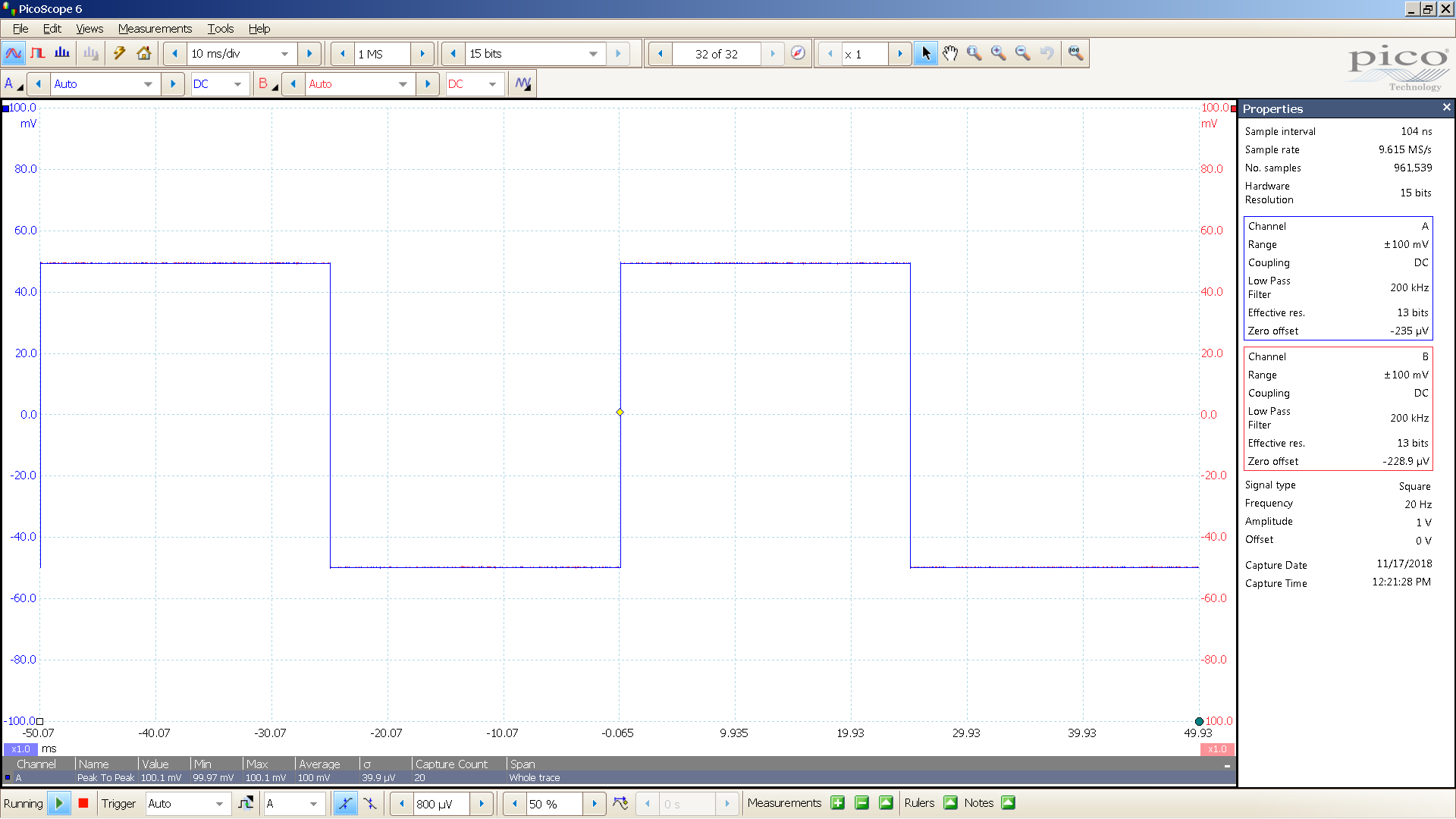 16 20181117 SigGen SA1X 20 Hz square 2000mVpp input 26 dB atten 10mS div 200KHz filter.png