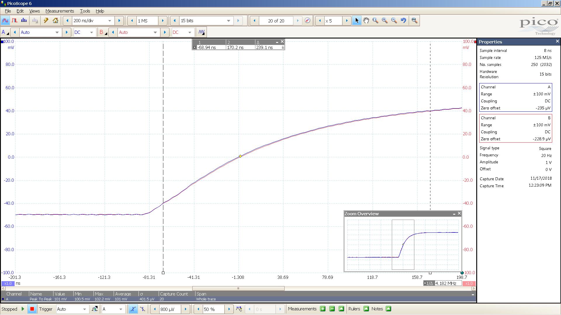17 20181117 SigGen SA1X 20 Hz square 2000mVpp input 26 dB atten 200nS div 10MHz filter - BW calc.png