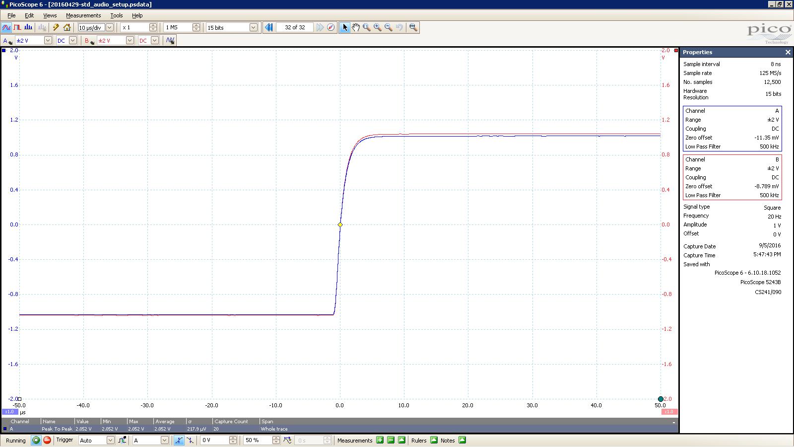 20160905 SigGen Jotunheim 20 Hz square 2000mVpp 10uS div 500KHz filter 30R unBalanced.PNG