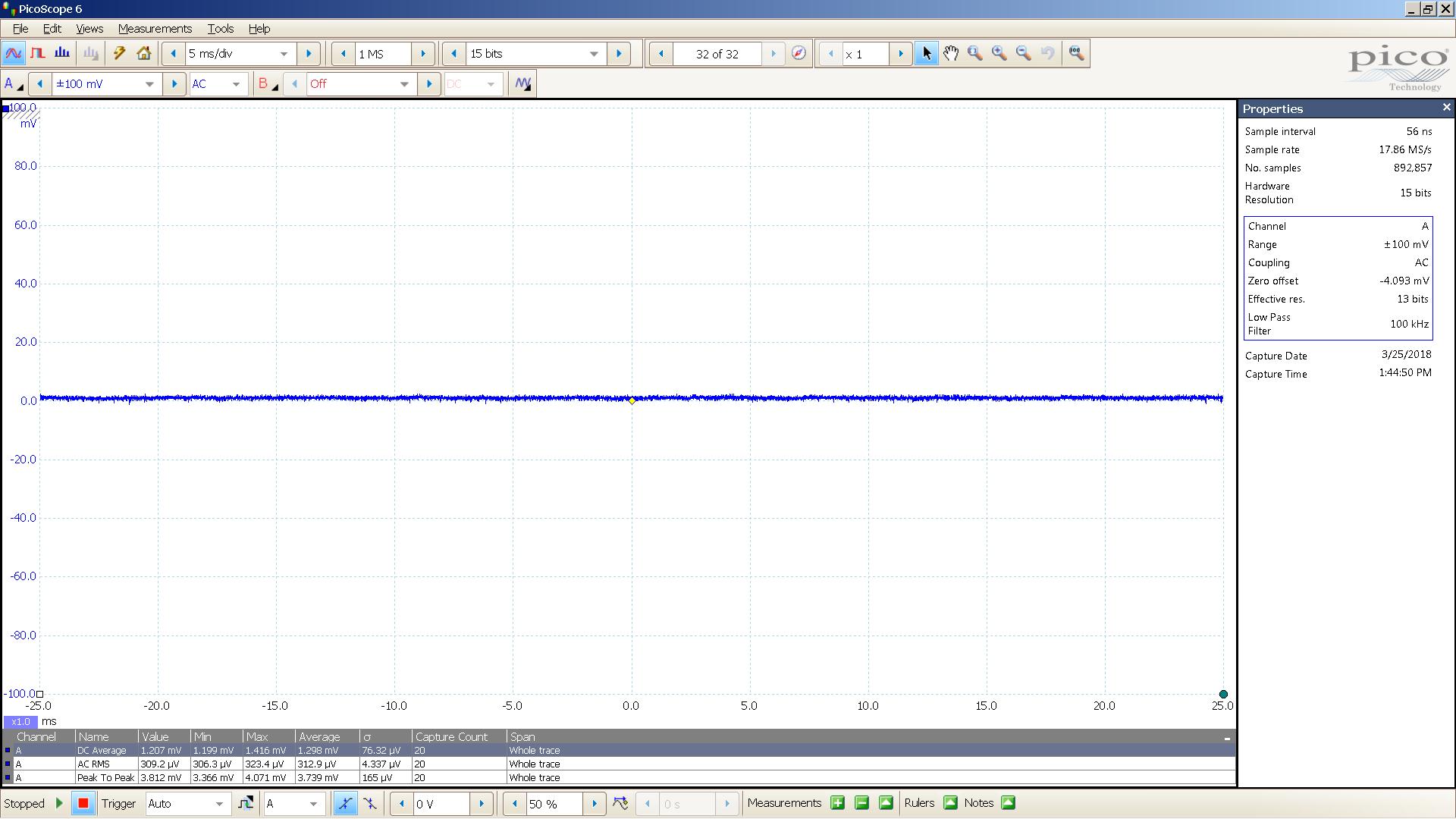 20180325 BK Precision 1627A 28V 56R load 20mV 5mS div 100KHz.png