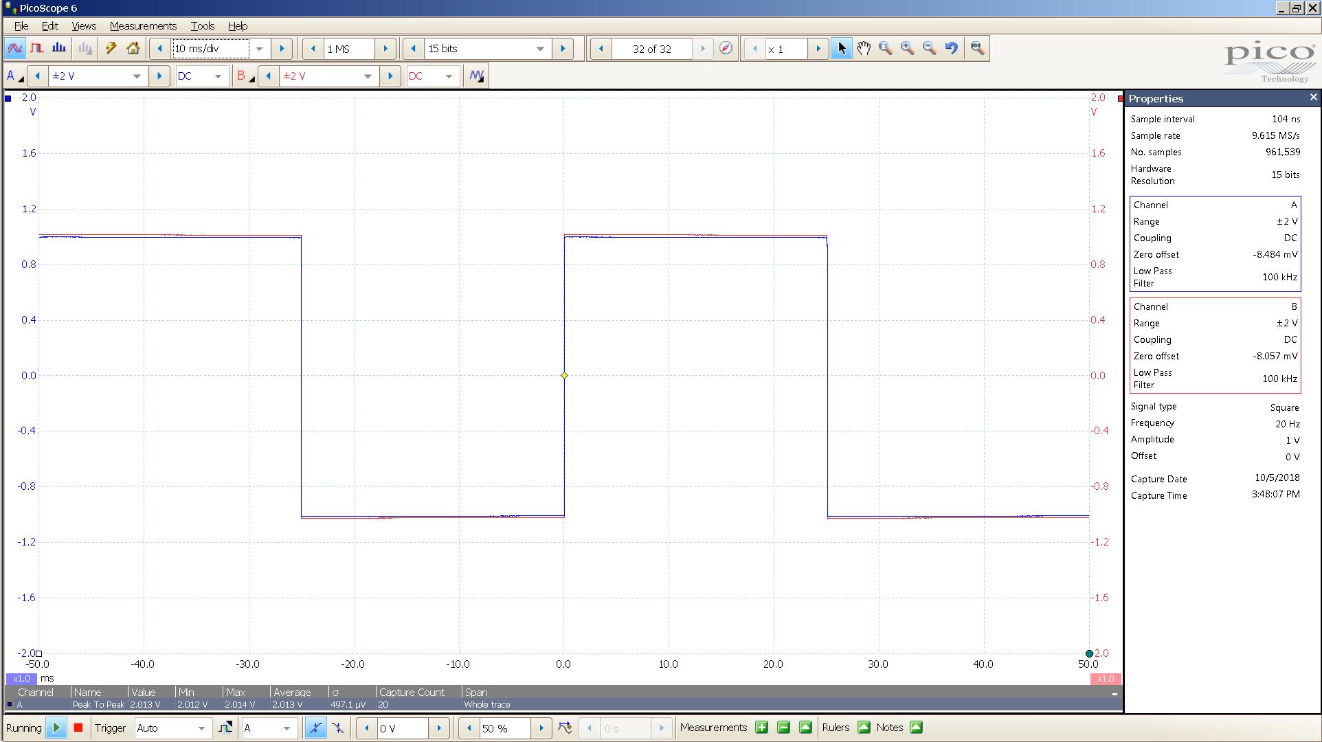 20181005 SigGen spark 20 Hz square 2000mVpp 10mS div 100KHz filter 300R.png