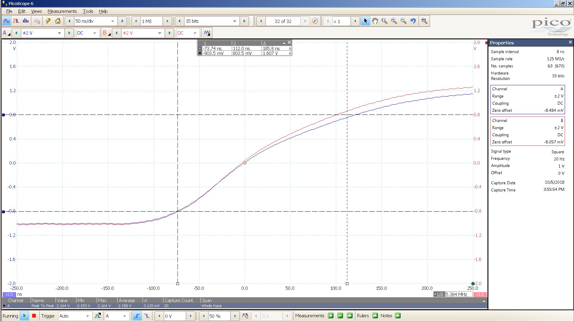 20181005 SigGen spark 20 Hz square 2000mVpp 1uS div 10MHz filter 300R -BW calc.png