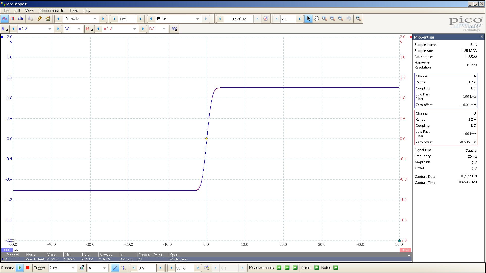 20181008 SigGen magni 3 20 Hz square 2000mVpp 10uS div 100KHz filter 300R.png