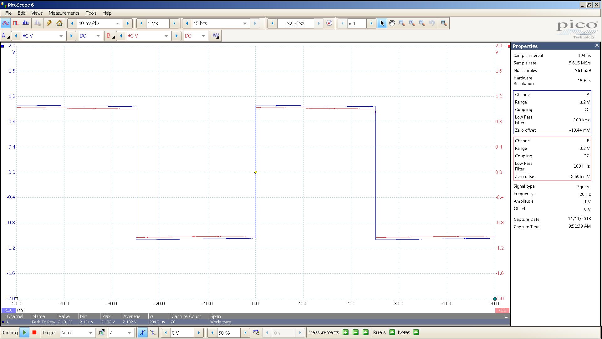 20181110 SigGen LiqPlat 20 Hz square 2000mVpp 10mS div 100KHz filter 30R.png