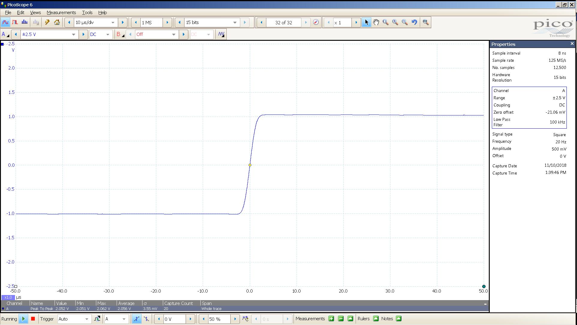 20181110 SigGen LiqPlat 20 Hz square 2000mVpp 10uS div 100KHz filter 30R.png