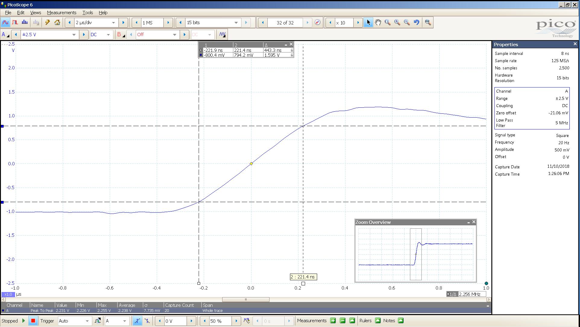 20181110 SigGen LiqPlat 20 Hz square 2000mVpp 2 uS div 5MHz filter 30R - BW calc v2.png