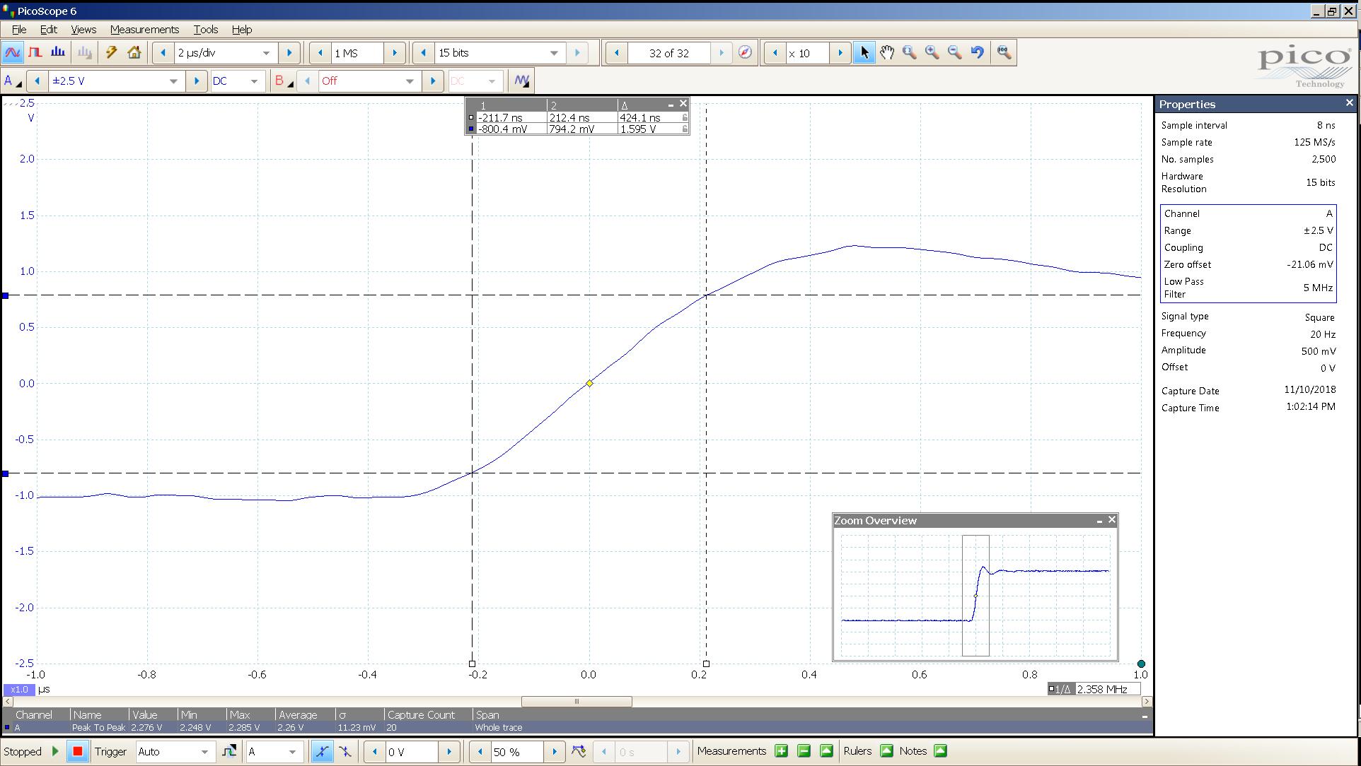 20181110 SigGen LiqPlat 20 Hz square 2000mVpp 2uS div 5MHz filter 300R - BW calc v2.png