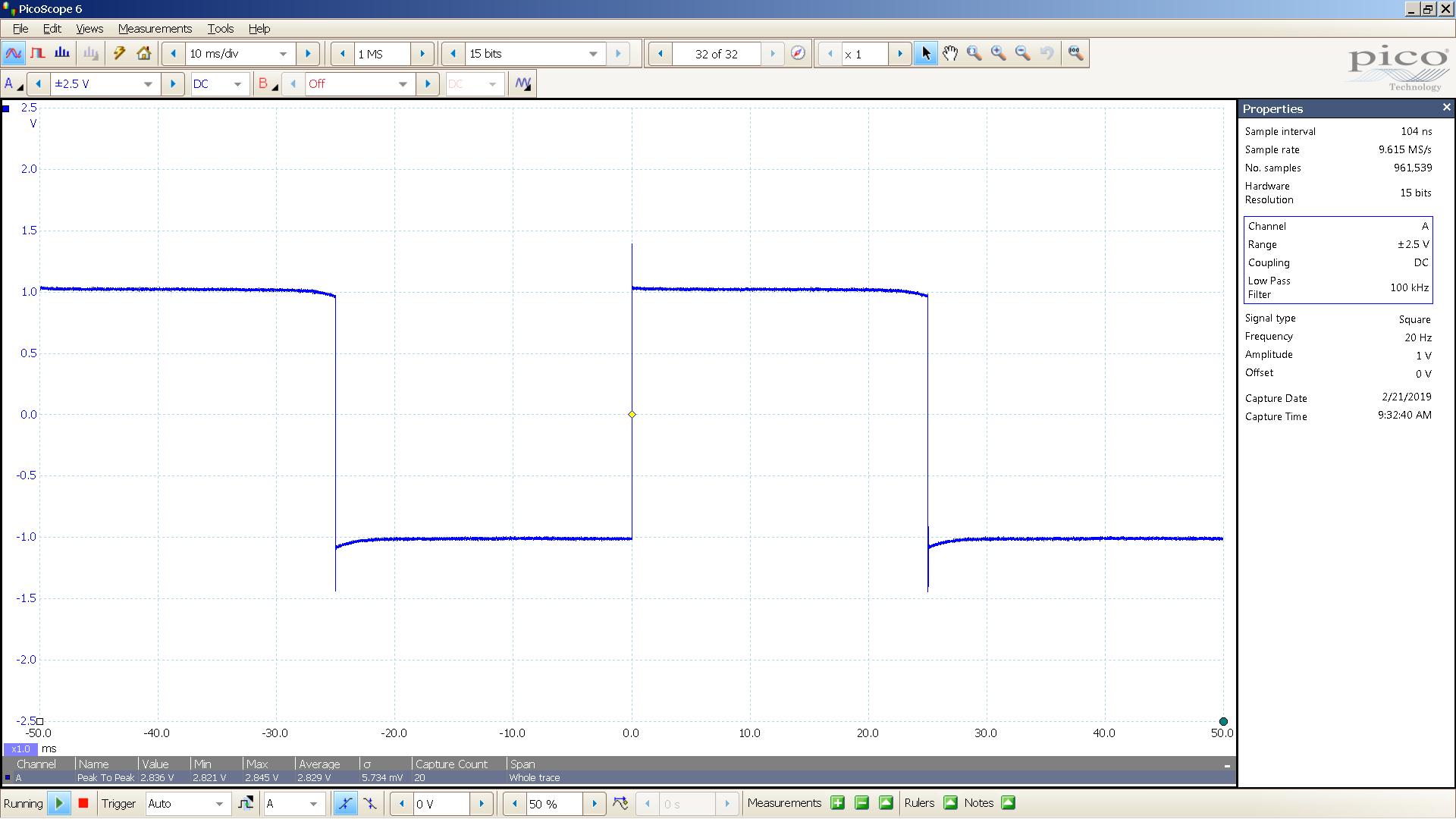 20190221 SigGen DSHA-3F 20 Hz square 2000mVpp 10mS div 100KHz filter 300R.png