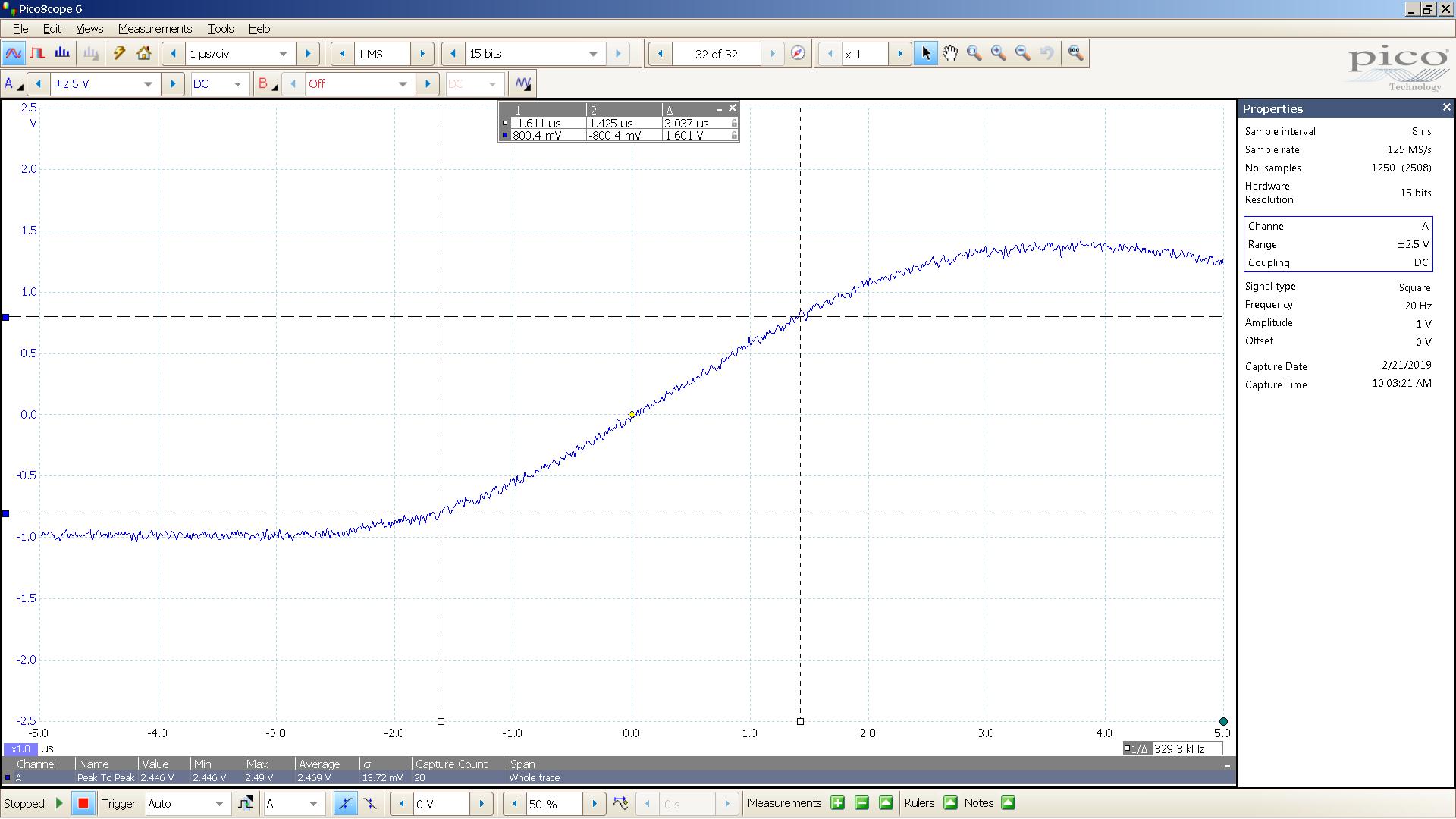 20190221 SigGen DSHA-3F 20 Hz square 2000mVpp 1uS div 10MHz filter 30R - BW calc.png