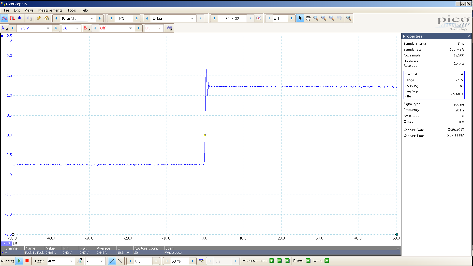 20190221 SigGen P20 20 Hz square 2000mVpp 10uS div 2_5MHz filter 300R.png