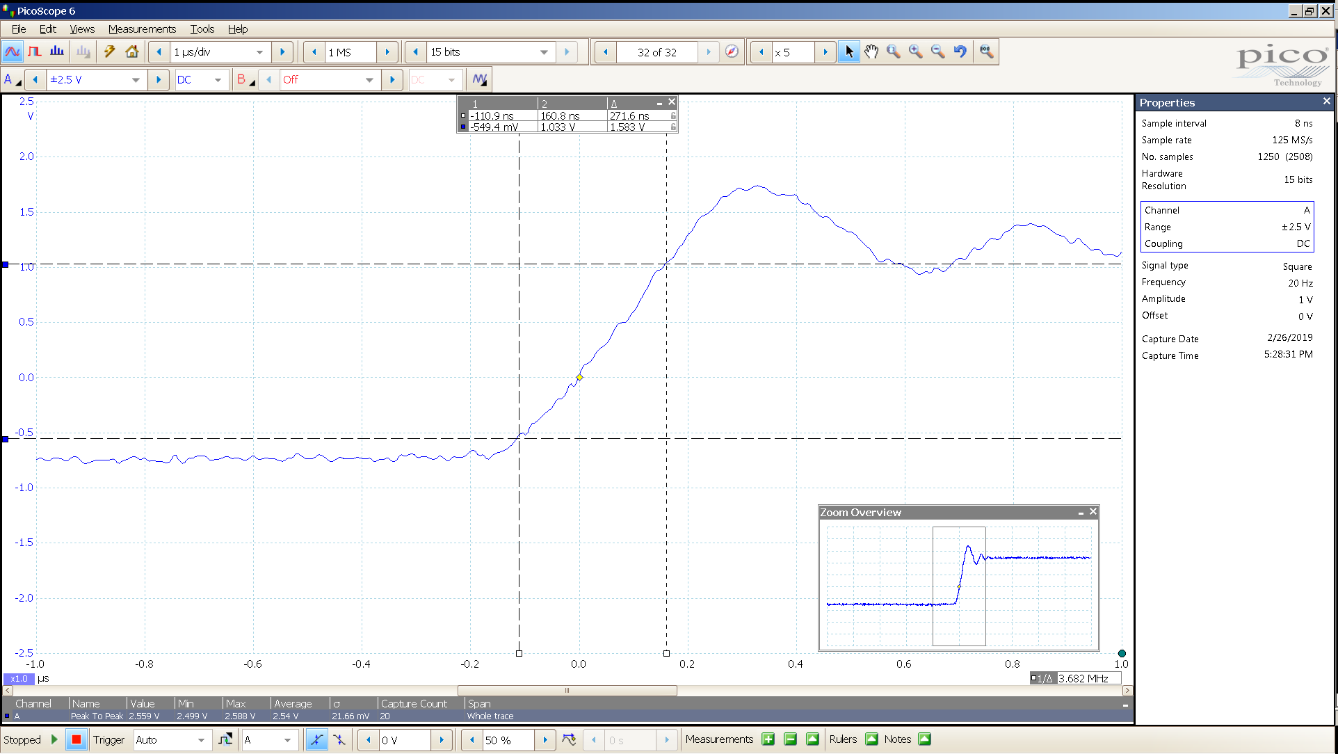 20190221 SigGen P20 20 Hz square 2000mVpp 1uS div 5MHz filter 300R - BW calc.png