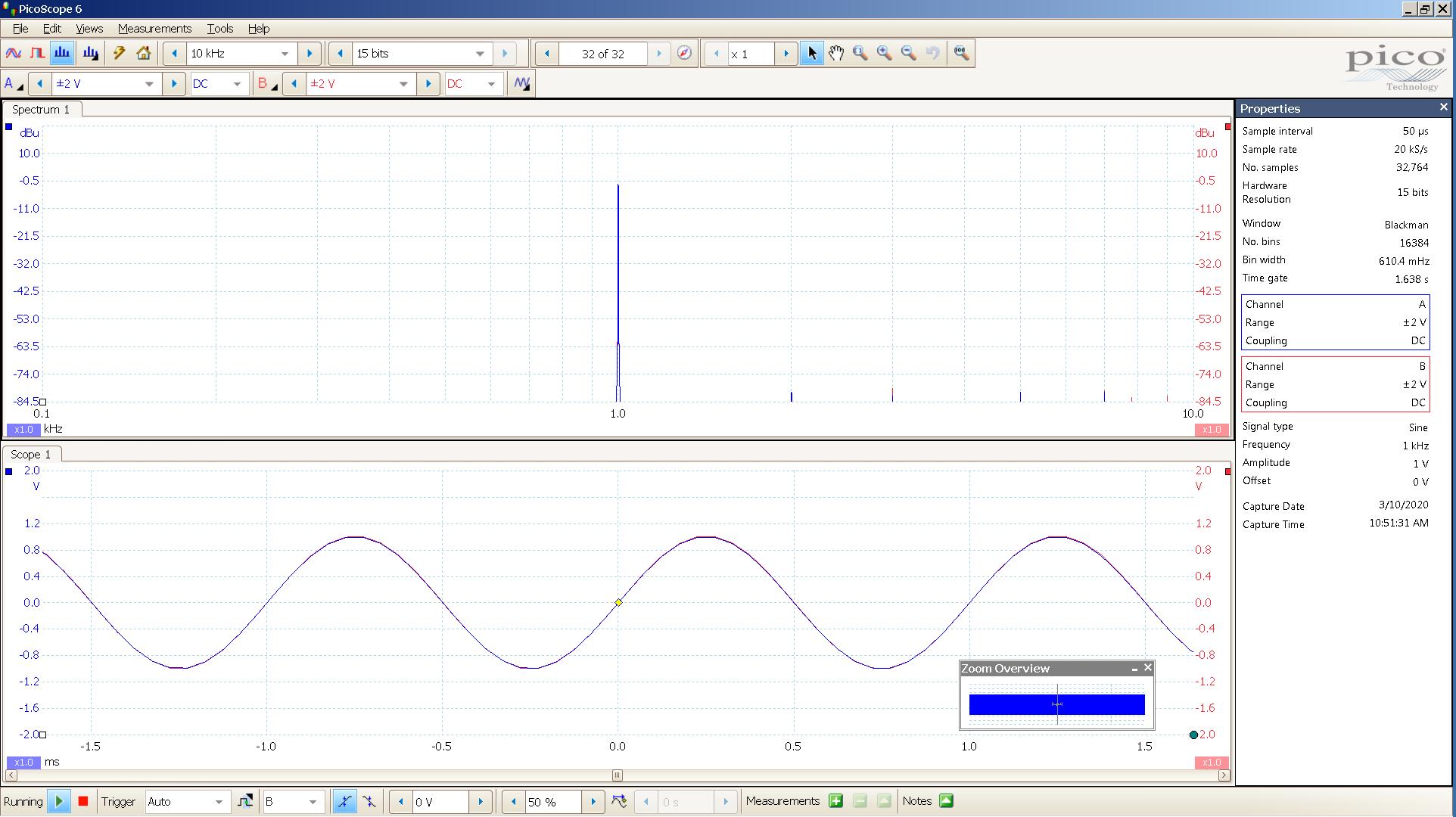 20200310 SigGen LiqPlat 1 KHz sine 2000mVpp FFT + Time - Blue SigGen SE input - Red LP SE 300R.png