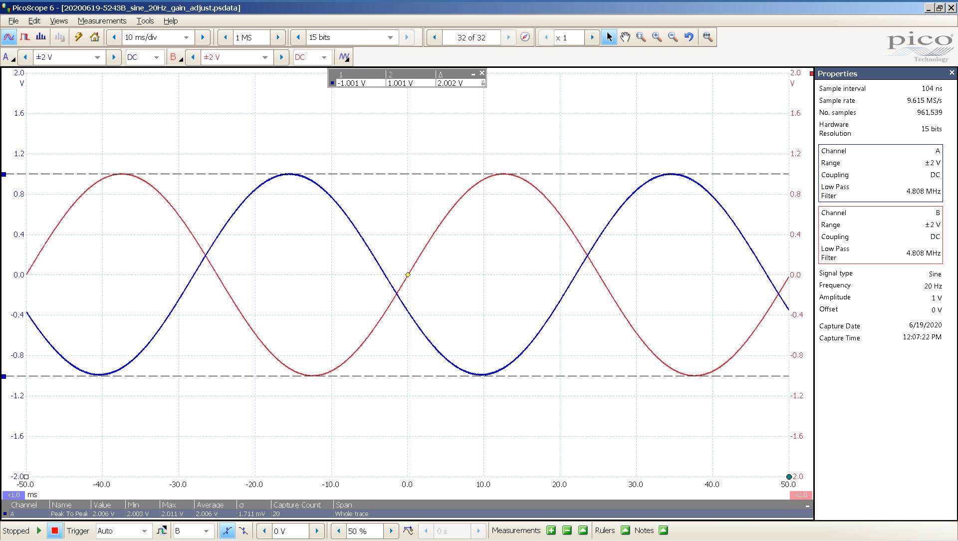 20200619 SigGen Bachelor 6z1p 20 Hz sine 2000mVpp 20mS div 5MHz filter 300R - Input R - Output L.png