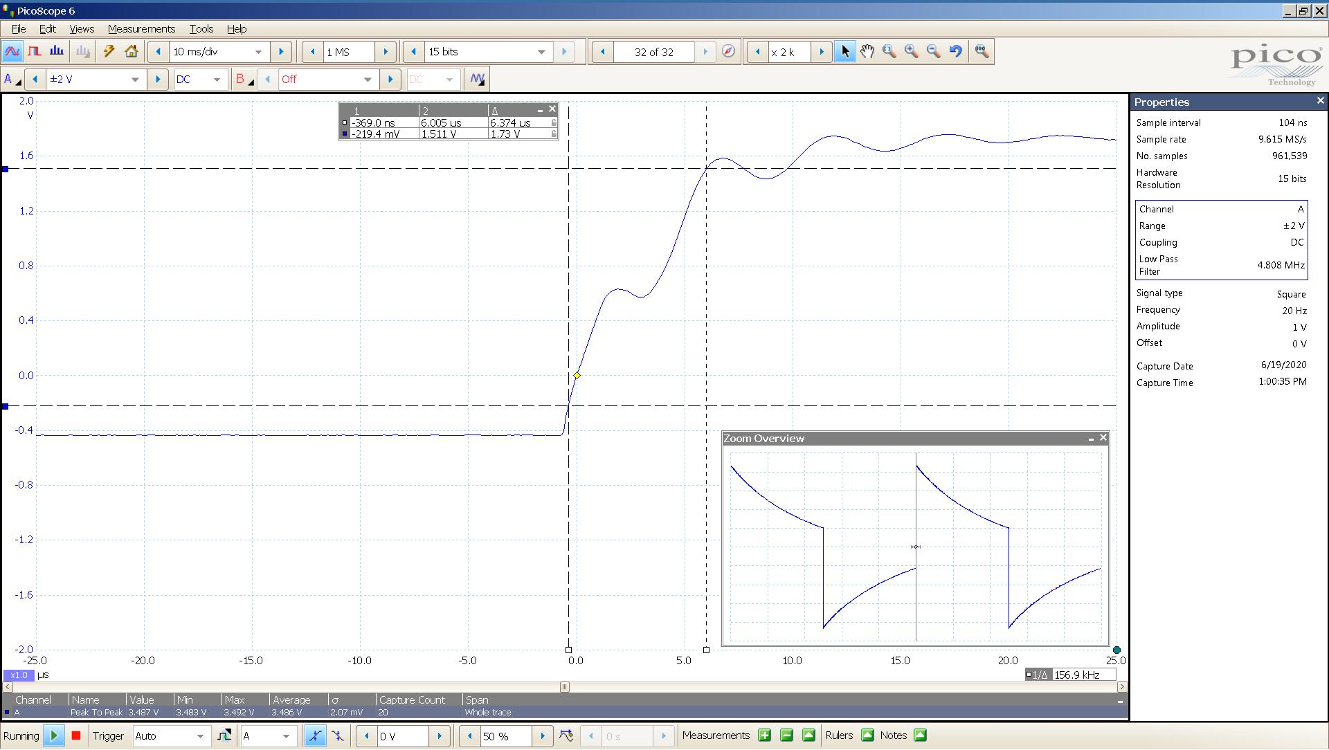 20200619 SigGen Bachelor 6z1p 20 Hz square 2000mVpp 5uS div 5MHz filter 32R - BW calc.png
