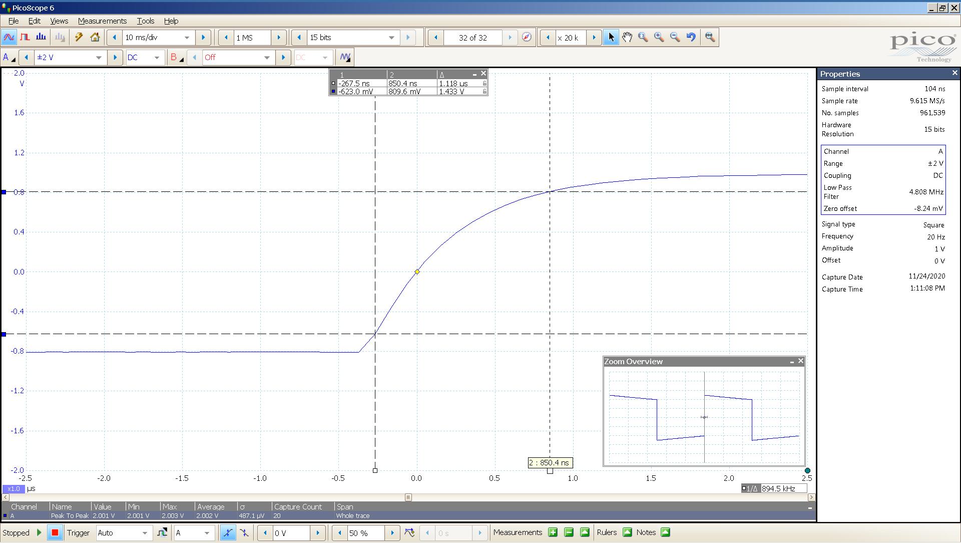20201124 SigGen Vali2 6bz7 20 Hz square 2000mVpp 0_5uS div 5MHz filter 300R - BW calc.png