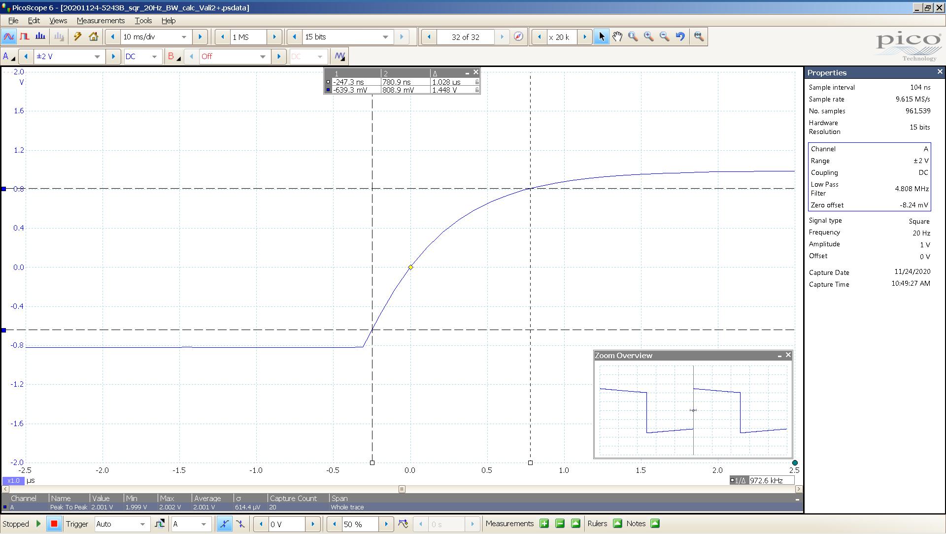 20201124 SigGen Vali2+ 6bz7a 20 Hz square 2000mVpp 0_5uS div 5MHz filter 300R - BW calc.png
