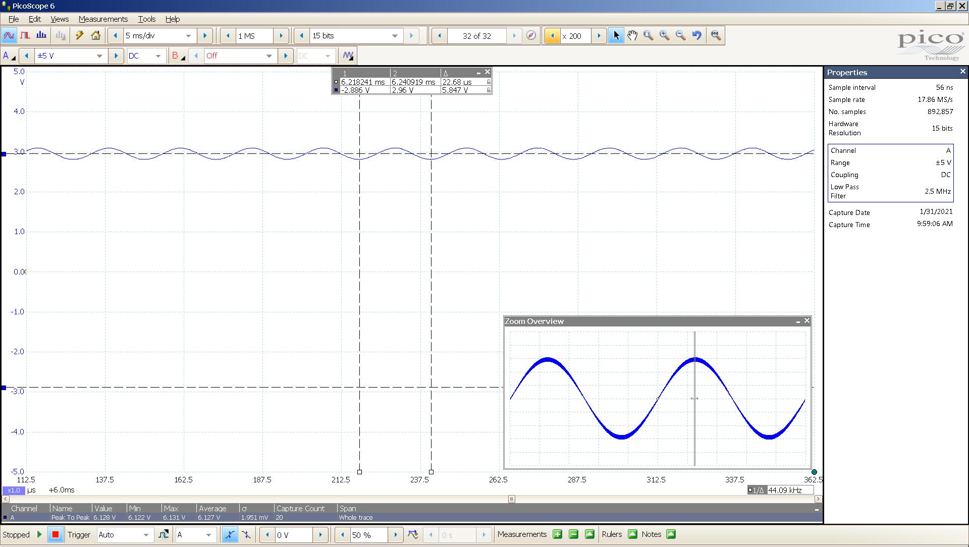 20210131-05 dac2541 40 Hz sine 5847mVpp 5mS div 5MHz filter AES SE Slow Zoom.png