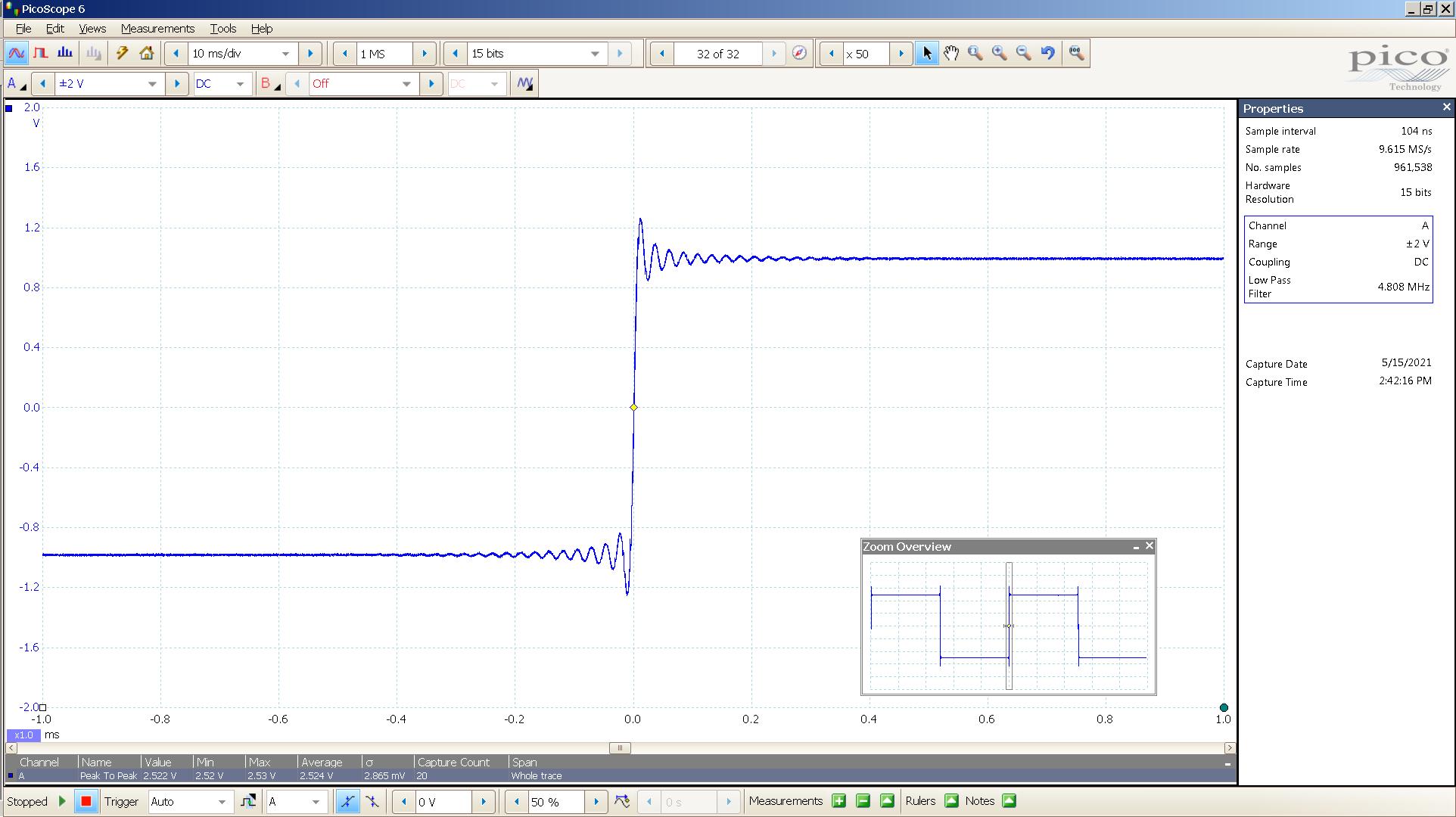 20210515 SigGen Spring2  20 Hz square 2000mVpp 200nS div 5MHz filter AES 88K SE -Lin.png