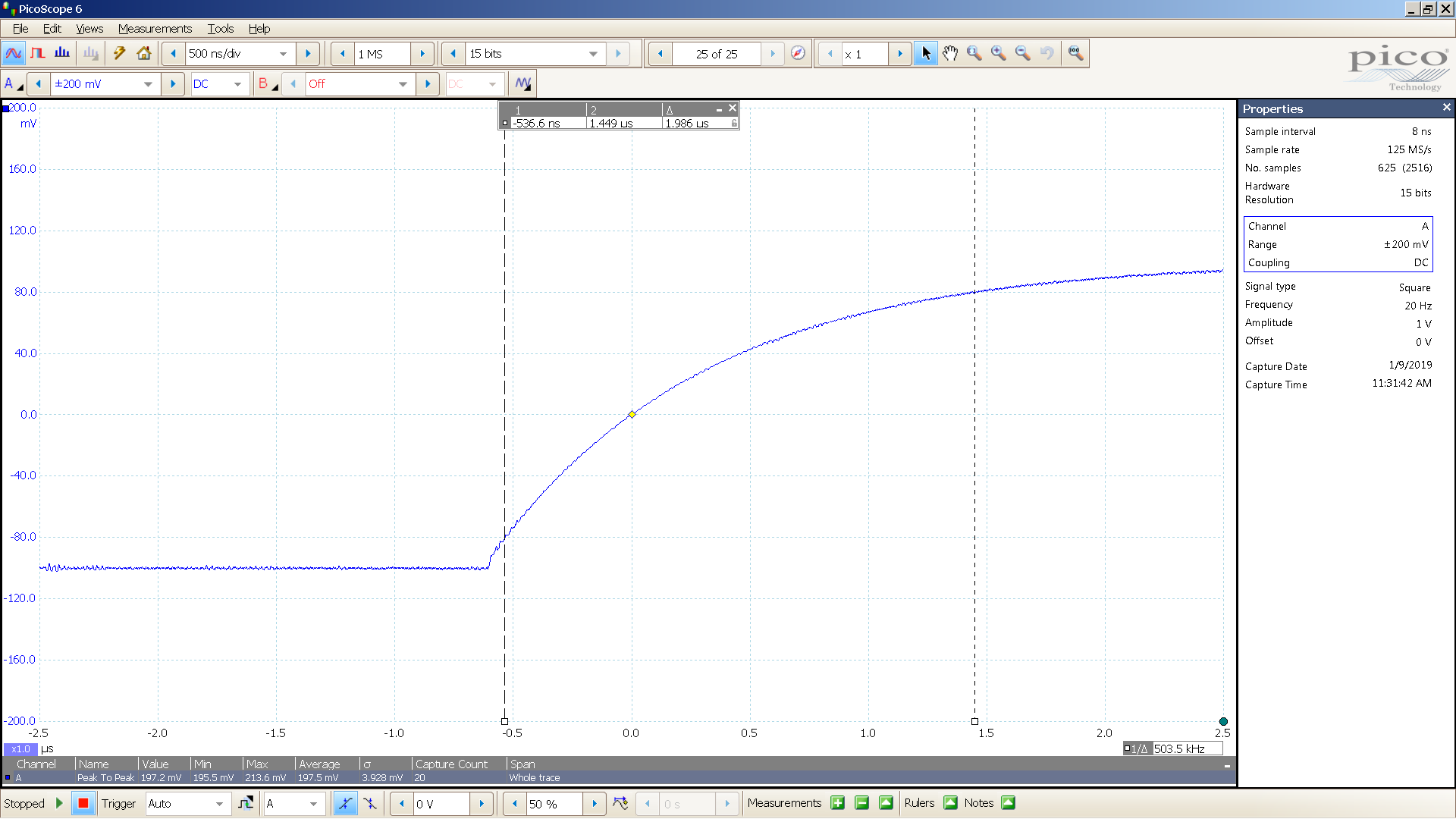 21 20190109 SigGen NS-05P 20 Hz square 2000mVpp input 20 dB atten 500nS div 20 MHz filtr-BW calc.png