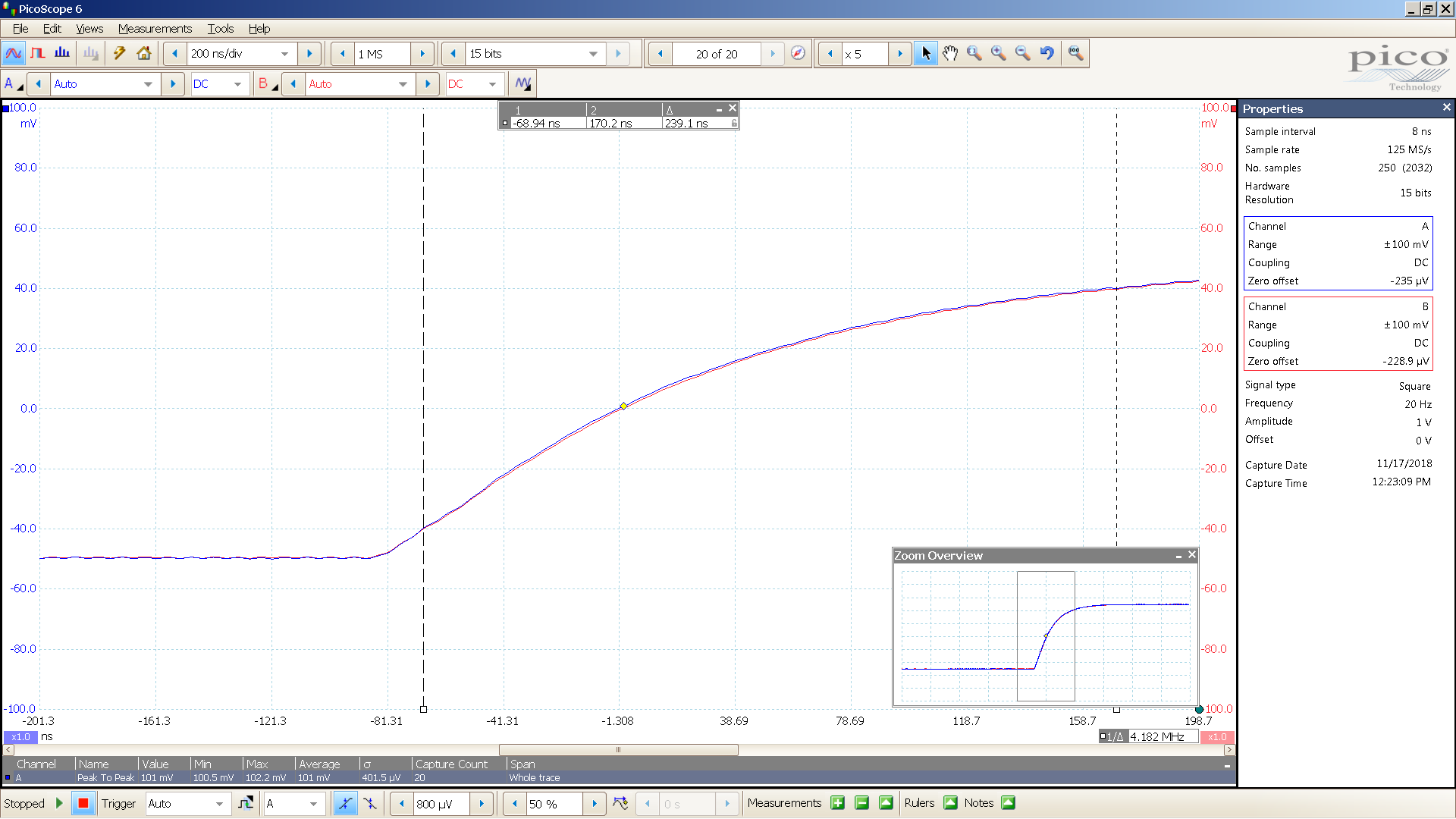 22 20181117 SigGen SA1X 20 Hz square 2000mVpp input 26 dB atten 200nS div 10MHz filter - BW calc.png