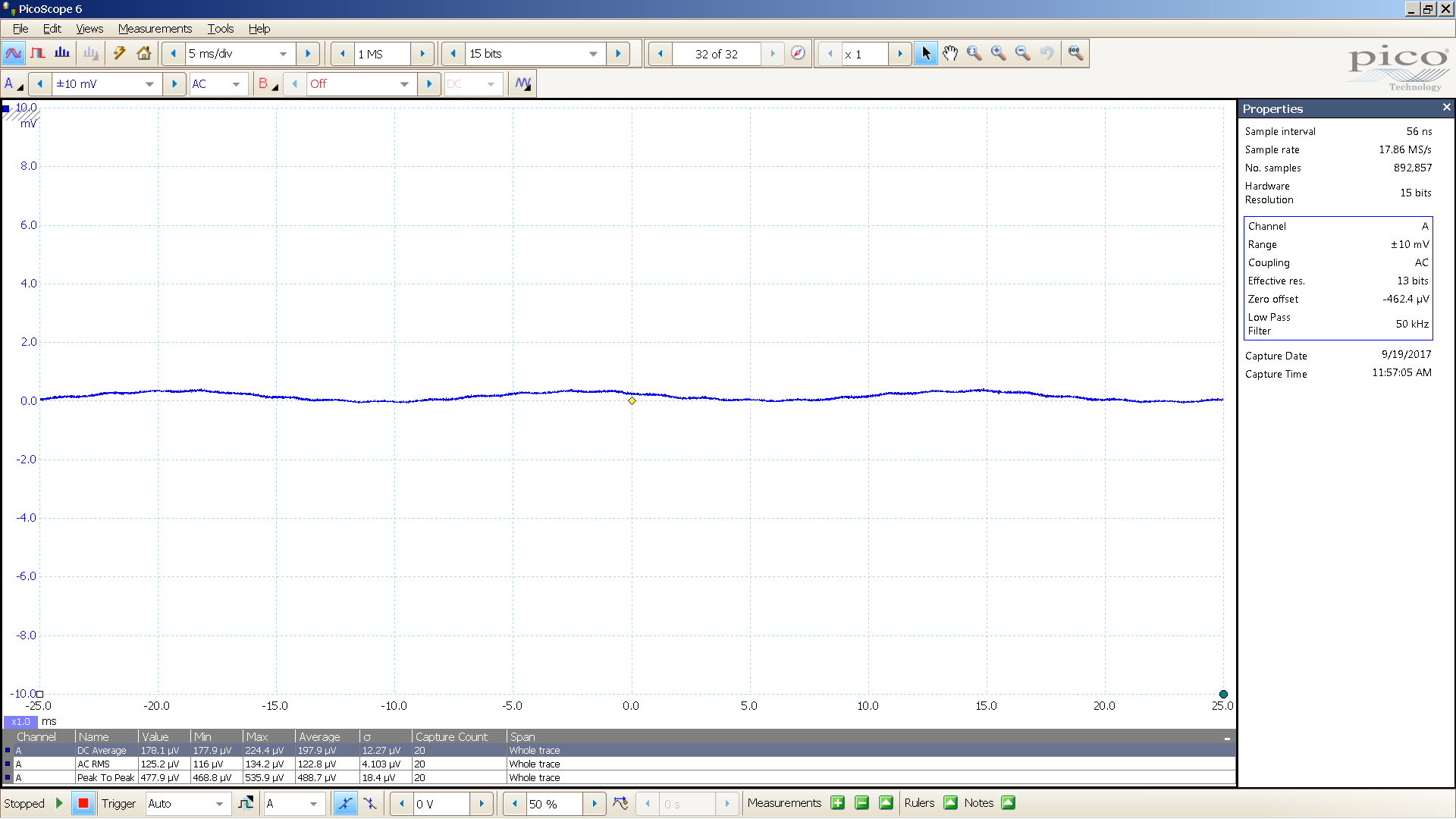 PS-III SMPS + LC 24V 123 uVrms 488 uVpp ripple 650mA load 50KHz BW filter 2mV 5mS div.png